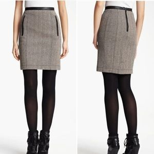 BURBERRY BRIT Wool Tweed Skirt With Leather Trim